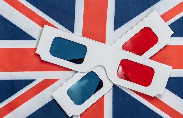 Lunettes anaglyphes 3d sur le drapeau britannique.