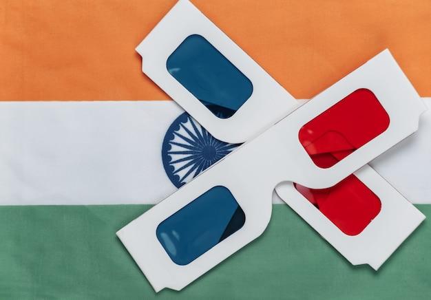 Lunettes anaglyphes 3d sur le drapeau indien