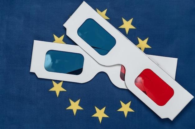 Lunettes anaglyphes 3d sur le drapeau de l'union européenne. cinéma européen