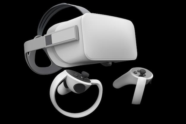 Lunettes et contrôleurs de réalité virtuelle pour les jeux en ligne isolés sur fond noir