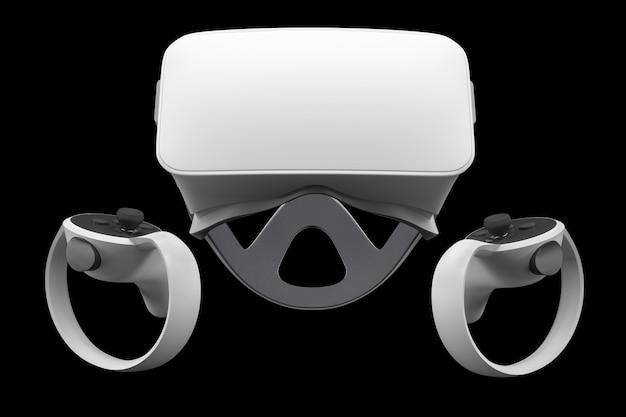 Lunettes et contrôleurs de réalité virtuelle pour les jeux en ligne et en nuage isolés sur fond noir avec un tracé de détourage. rendu 3d de l'appareil pour la conception virtuelle en réalité augmentée ou le jeu virtuel en vr