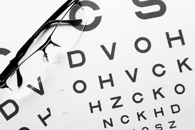 Lunettes sur fond de tableau ortométrique de tableau de test d'acuité visuelle. antécédents médicaux d'ophtalmologiste.