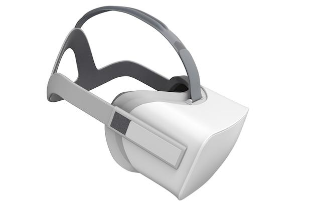 Lunettes de réalité virtuelle isolées sur blanc avec rendu d'un tracé de détourage