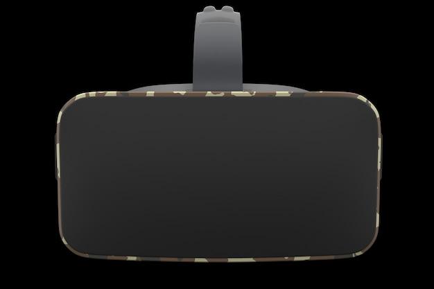 Lunettes de réalité virtuelle isolées sur fond noir avec rendu d'un tracé de détourage