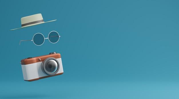 Lunettes de soleil, chapeau et appareil photo sur concept de voyage fond bleu. rendu 3d