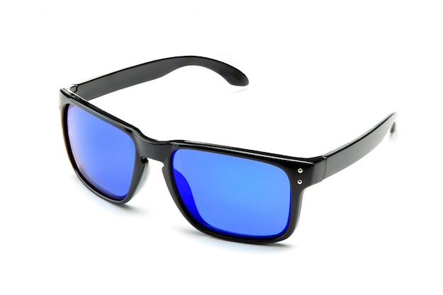 Lunettes de soleil noires classiques avec verres miroir bleus