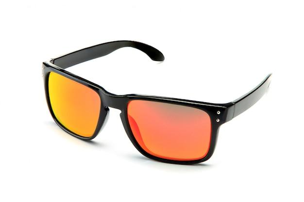 Lunettes de soleil noires classiques avec verres miroir orange
