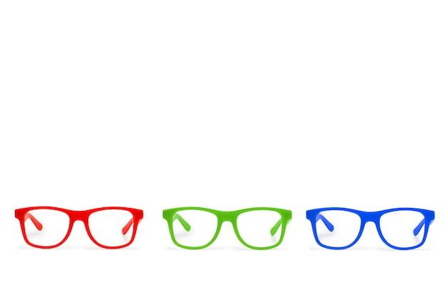 Lunettes de vue rouges bleues et vertes