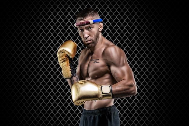 Le lutteur professionnel se tient dans une cage octogonale. arts martiaux mixtes, muay thai, concept de kickboxing. technique mixte