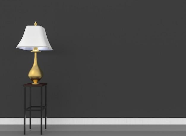 Luxe blanc et or lampe et copie de mur noir de l'espace comme toile de fond.