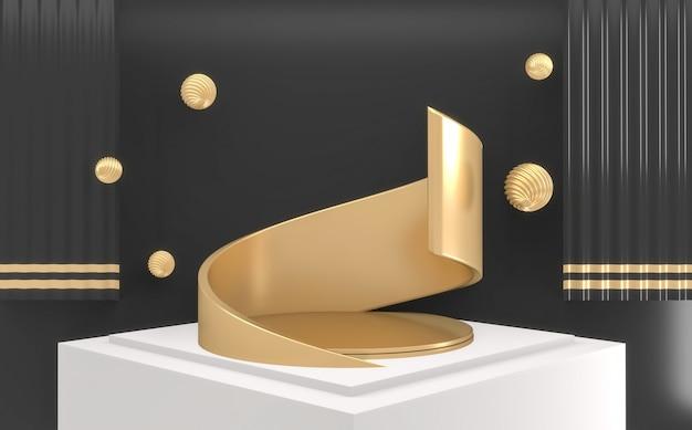 Luxe foncé abstrait podium doré minimal géométrique abstrait de style blanc et or