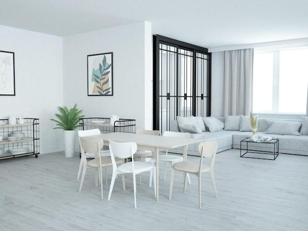 Luxueux salon de style loft avec coin table à manger