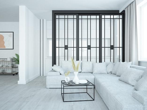 Luxueux salon de style loft avec petite cuisine confortable