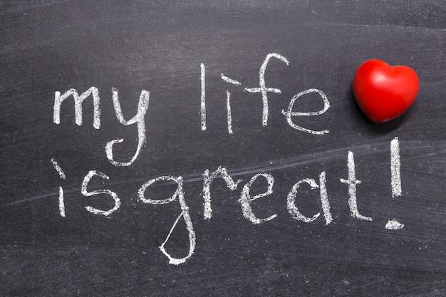 Ma vie est une grande phrase écrite à la main sur le tableau noir de l'école