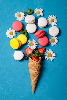 Macaron, assortiment, fraise, camomille