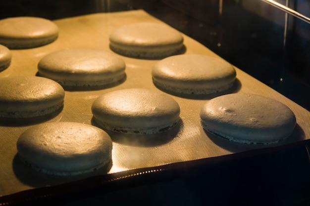 Macaron cuit dans une plaque à pâtisserie