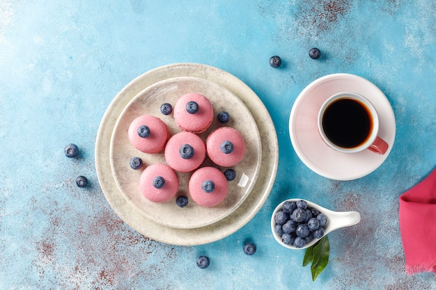 Macarons aux myrtilles.