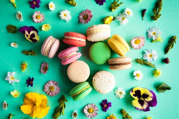 Macarons colorés appétissants et belles fleurs sur fond vert. disposition à plat