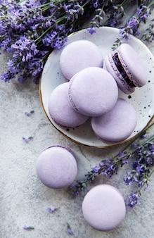 Macarons français au goût de lavande et fleurs de lavande fraîches sur fond de béton