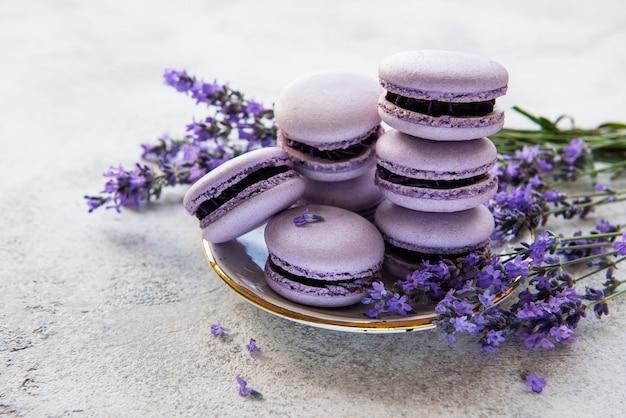 Macarons français au goût de lavande et fleurs de lavande fraîches