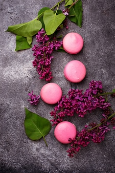 Macarons roses et lilas.