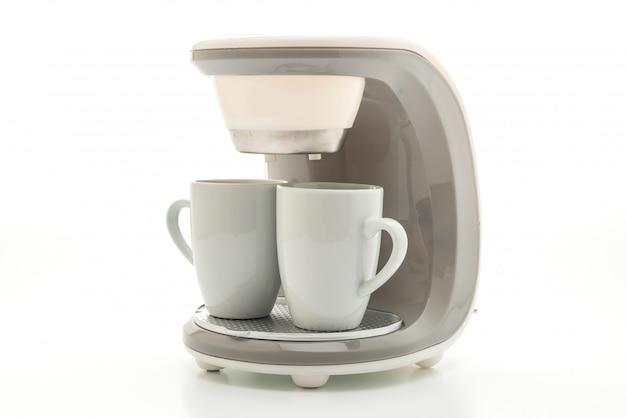 Machine à café sur fond blanc