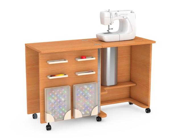 Machine à coudre sur la table en bois de l'atelier sur mesure sur un fond blanc. rendu 3d