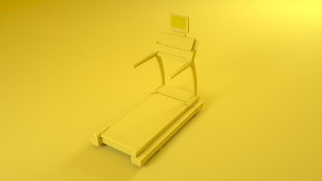 Machine de course de tapis roulant sur jaune. rendu 3d.