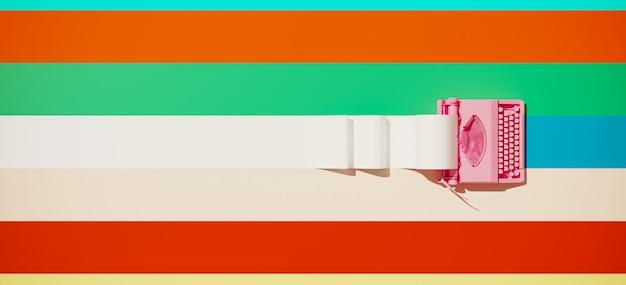 Machine à écrire vintage rose et rouleau de papier sur fond coloré
