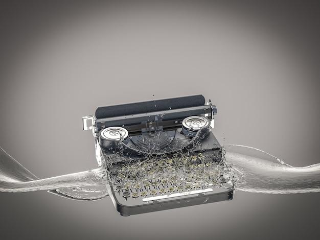 La machine à écrire vintage tombe dans l'eau et crée des éclaboussures.