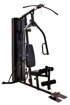 Machine de gym isolée sur blanc.