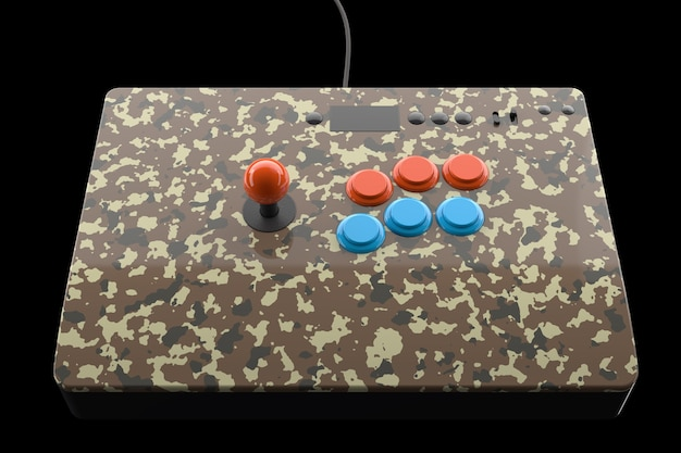 Machine de jeu d'arcade vintage avec des contrôleurs colorés isolés sur fond noir
