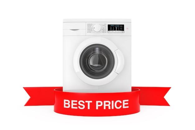 Machine à laver moderne avec le meilleur prix de ruban rouge signe sur un fond blanc le rendu 3d