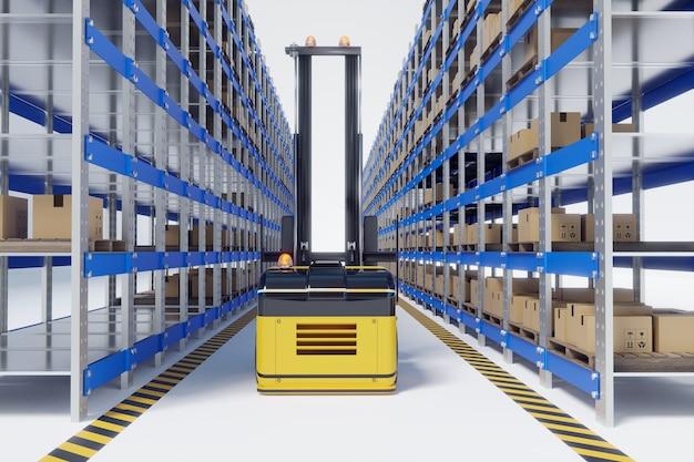 Machine de levage automatique ou agv de levage travaillant dans un entrepôt, illustrations 3d
