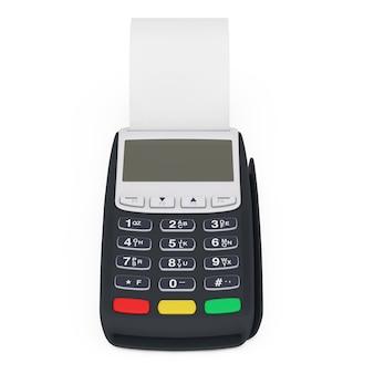 Machine de point de vente de caisse enregistreuse de terminal bancaire pour le paiement avec la bande de cache laminée en blanc sur un fond blanc. rendu 3d
