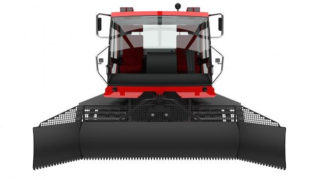 Machine pour effacer les pistes de ski sur blanc isolé