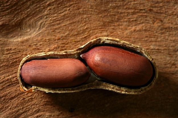 Macro d'arachides sur bois