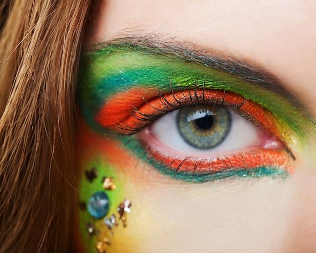 La macro belle œil féminin, jeune femme
