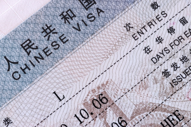 Macro d'un document de visa chinois