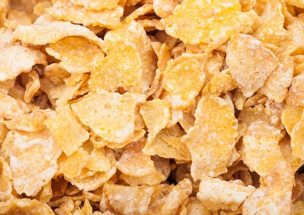 Macro de flocons de maïs granola céréales fraîches bio