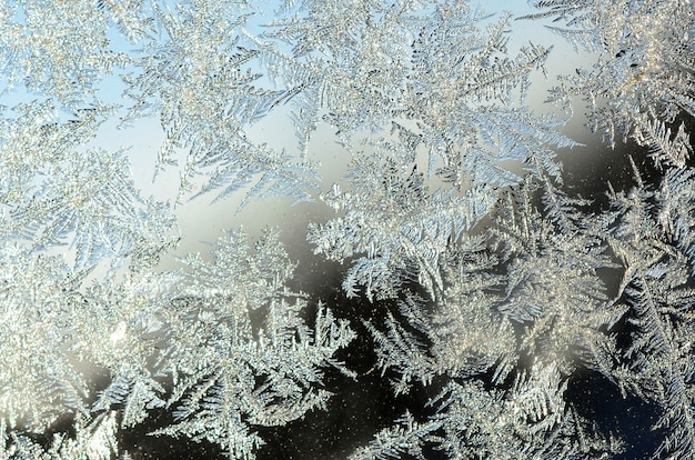 Macro de givre rime flocons de neige sur fond de verre de fenêtre