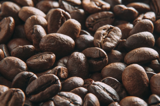 Macro de grains de café.