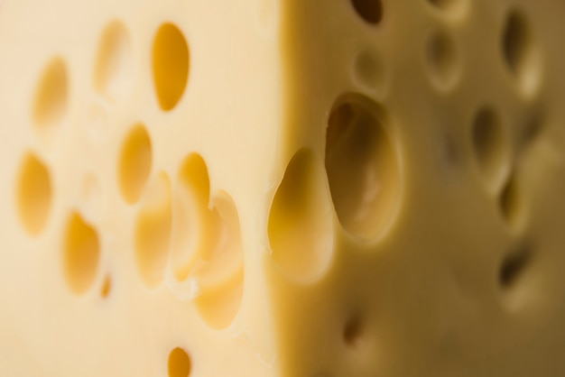 Macro shot de fromage emmental