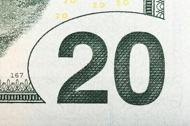 Macro de la valeur sur un billet de 20 us, macro extrême. photo haute résolution.