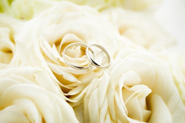 Macro-vision de deux anneaux de mariage d'or allongé sur une rose blanche