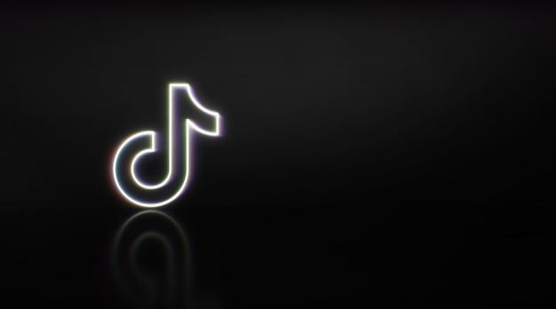 Madrid, espagne - 2 février 2021 : logo tik tok en néon avec un espace pour le texte et les graphiques. fond noir.