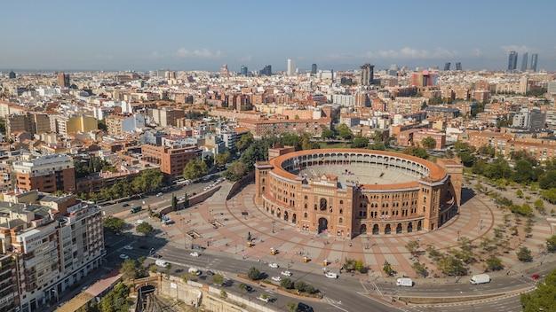 Madrid, espagne, octobre 2018 - vue aérienne de la plaza de toros à madrid