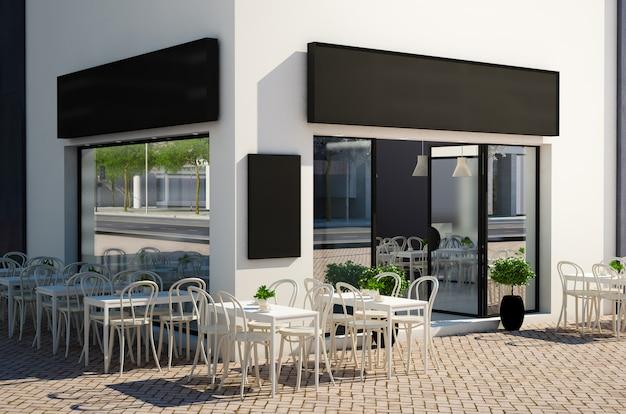 Magasin de café avec terrasse sur la maquette de rue