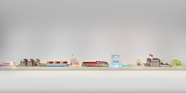 Magasin de construction de modèles de la capitale et illustration 3d de la grande ville