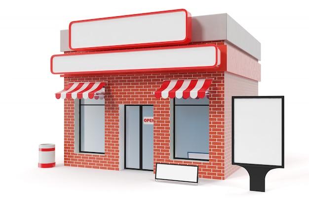 Magasin avec copie espace conseil isolé sur fond blanc. immeubles de magasins modernes, façades de magasins. marché extérieur. bâtiment de magasin de façade extérieure, rendu 3d